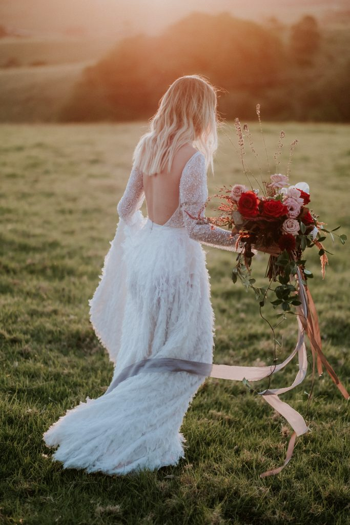 Bouquet from Bower Botanicals and model wearing One Day Bride and Marilyn Crystelle at byronviewfarm