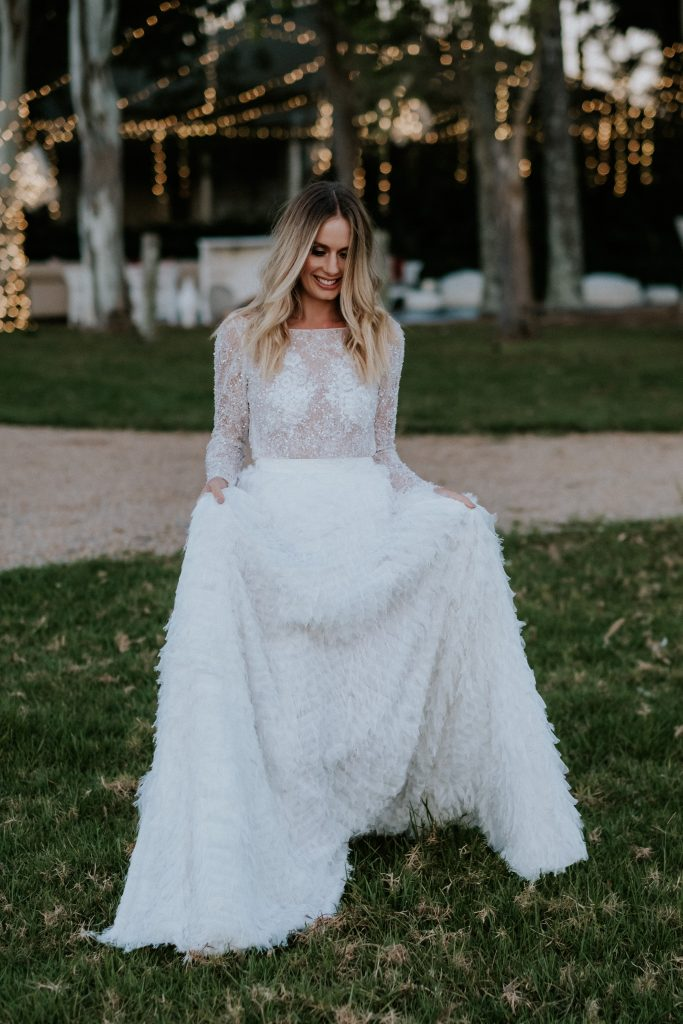 Bride at byronviewfarm wearing One Day Bridal and Marilyn Crystelle